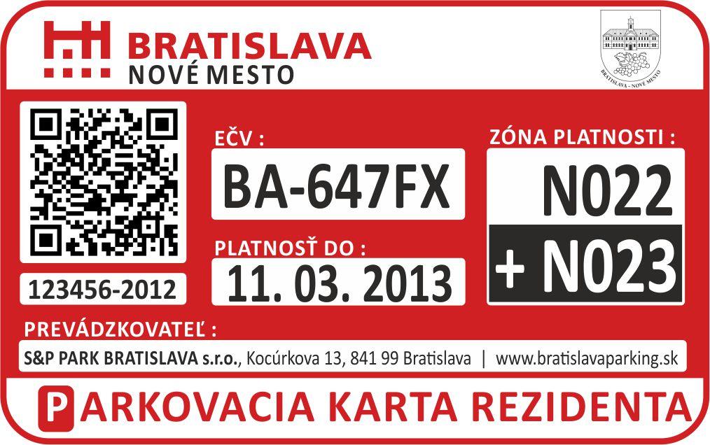 Navrhoval som grafické prevedenie parkovacej karty pre Bratislavu
