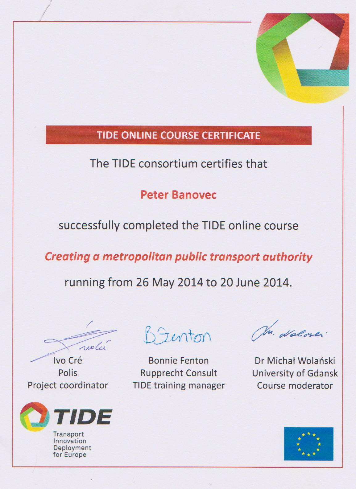 TIDE certifikát